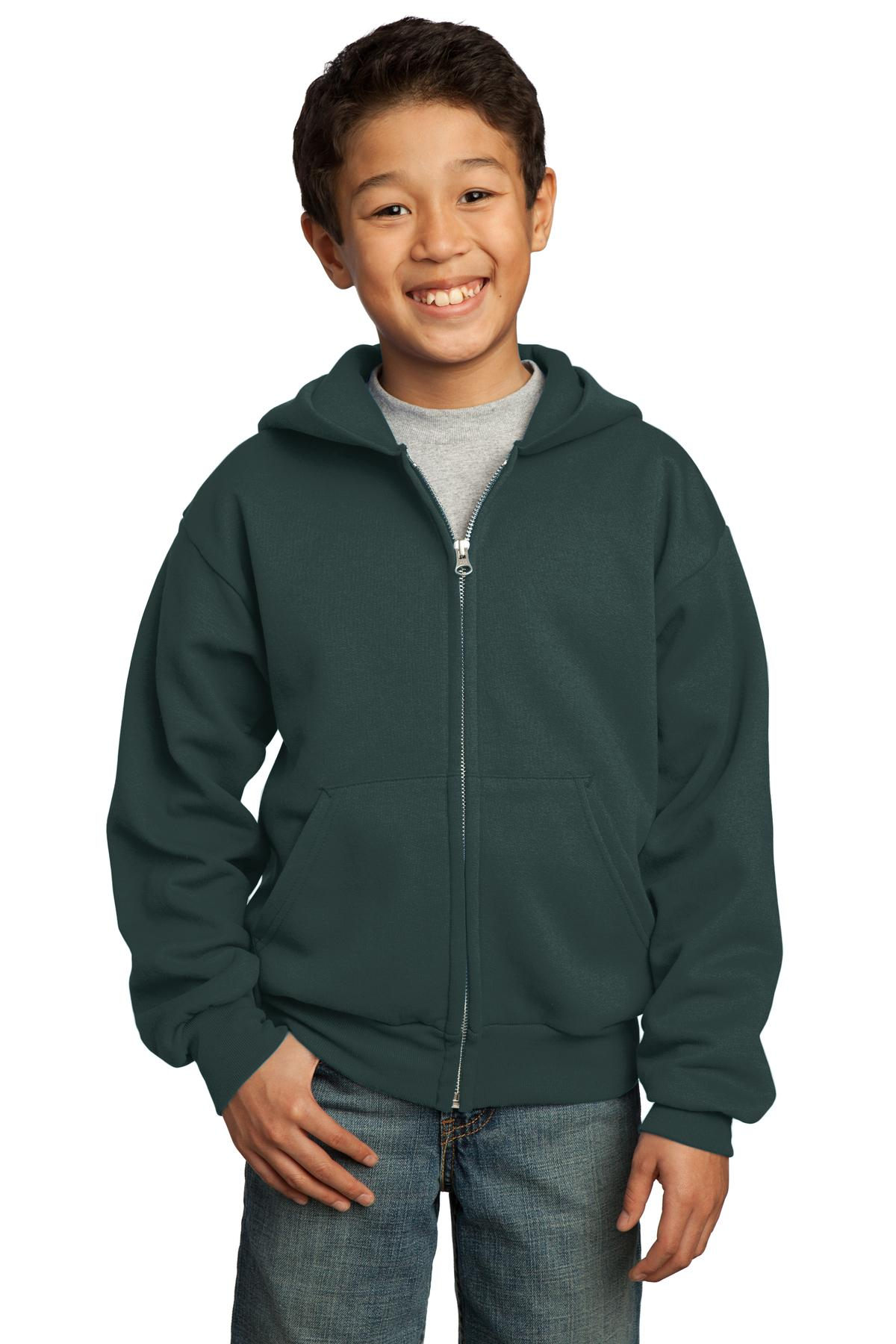 Port & Company ®  - Youth Core Fleece Full-Zip Hooded Sweatshirt.  PC90YZH - Dark Green