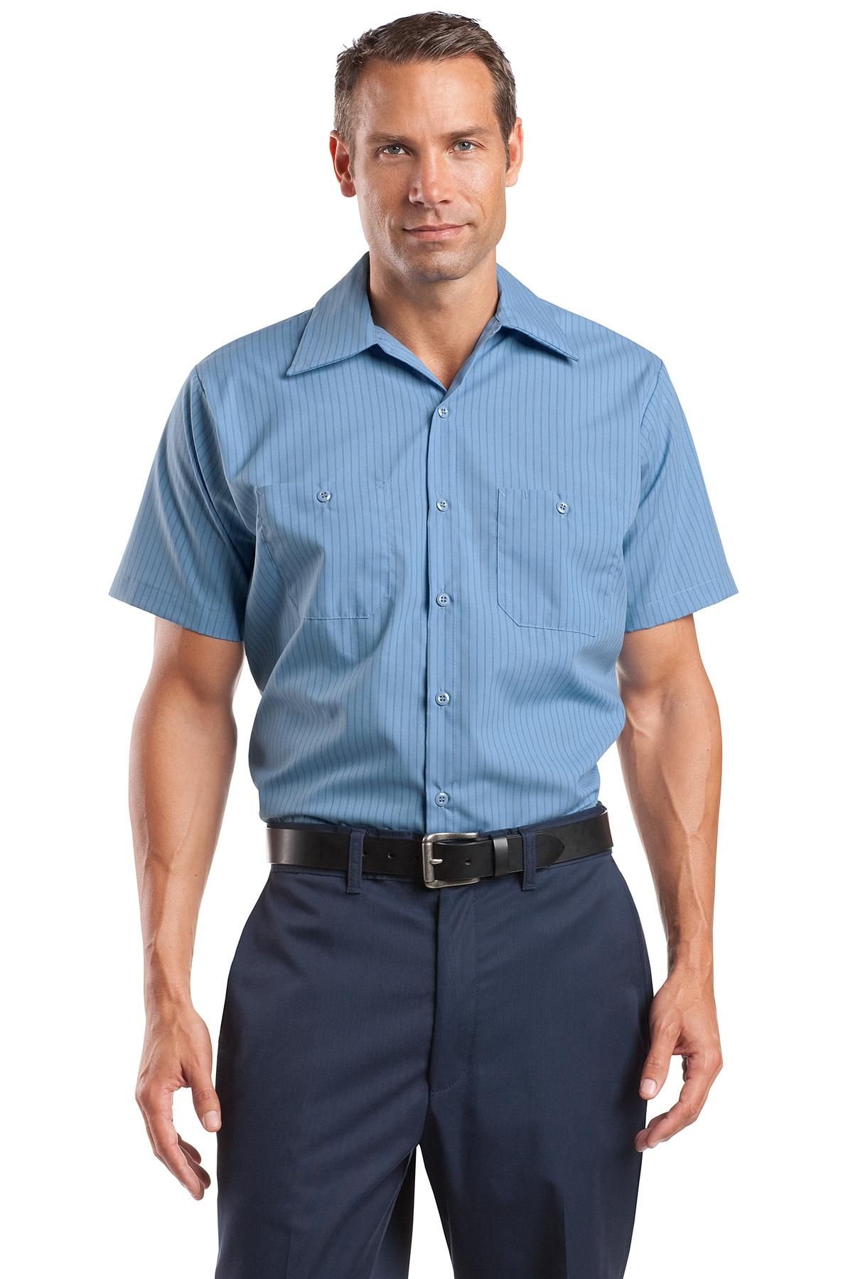 Red Kap ®  Long Size, Short Sleeve Striped Industrial Work Shirt. CS20LONG - Petrol Blue/ Navy