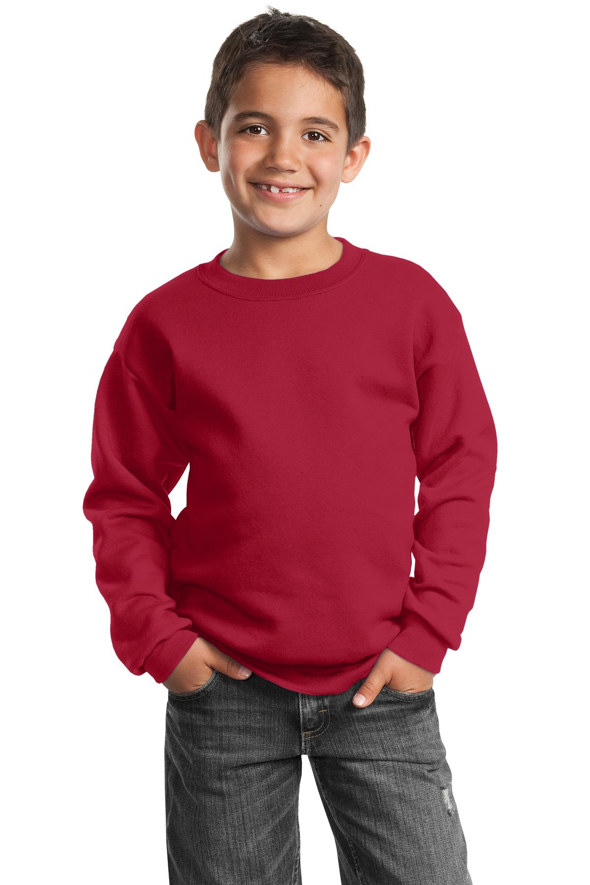 Port & Company ®  - Youth Core Fleece Crewneck Sweatshirt.  PC90Y - Red