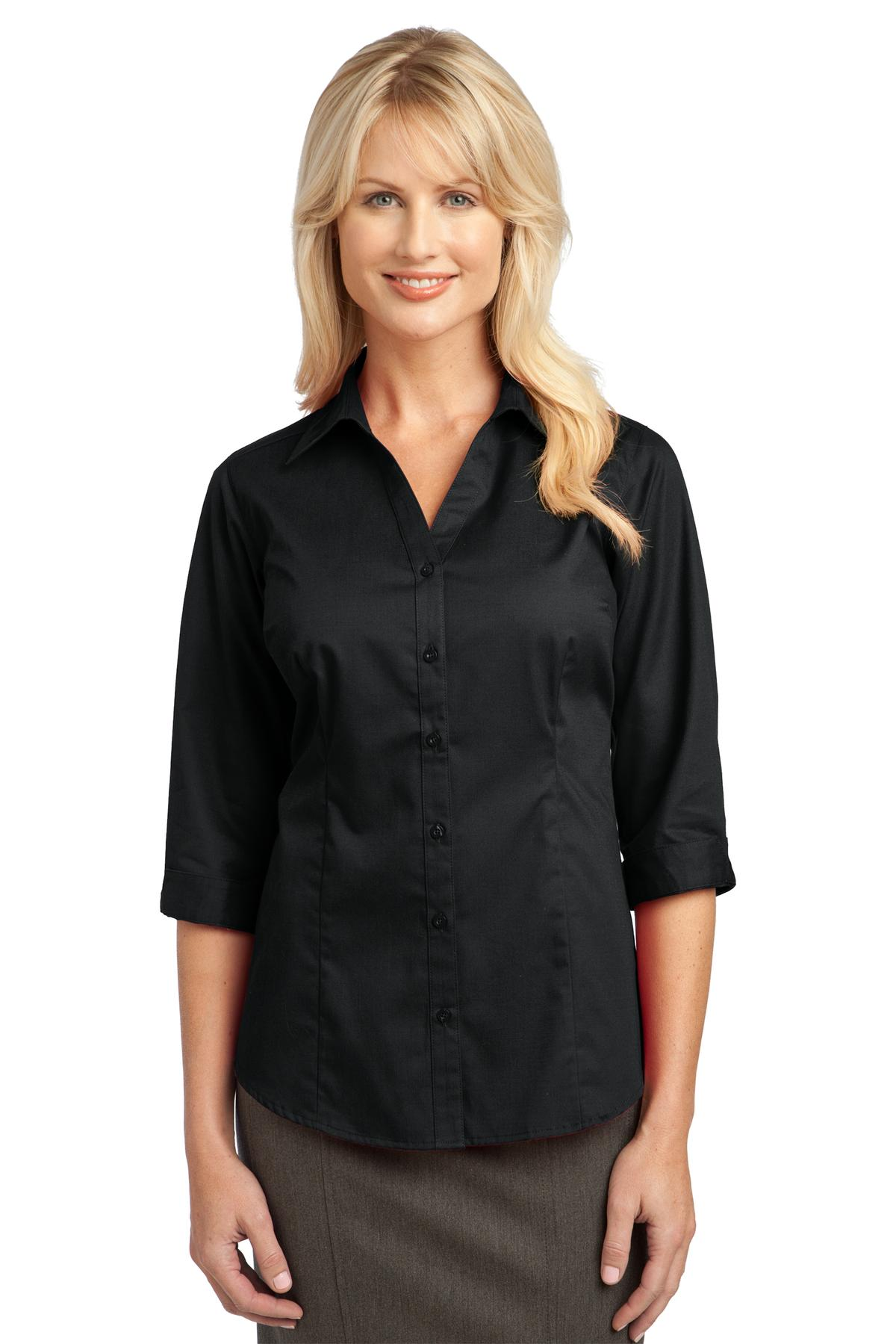 IMPROVED  Port Authority ®  Ladies 3/4-Sleeve Blouse. L6290 - Black
