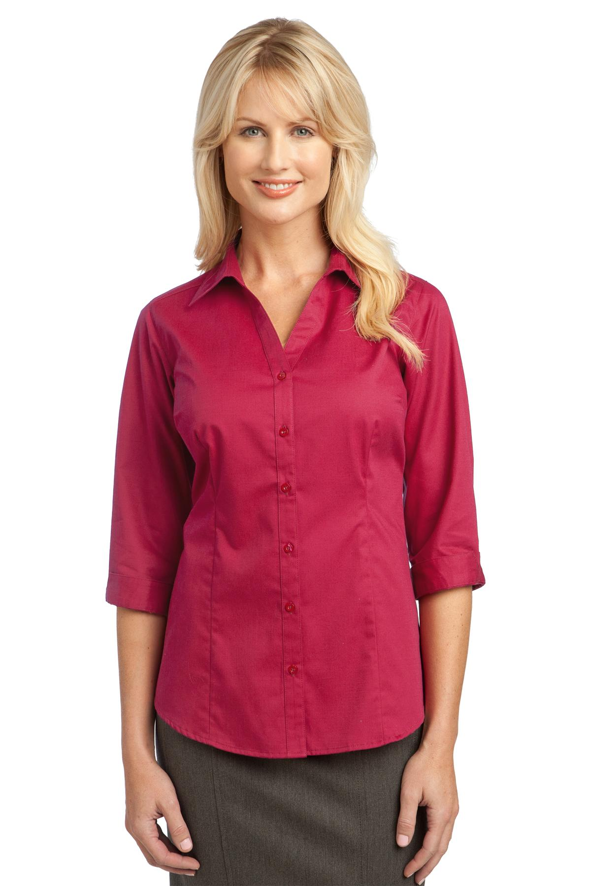 IMPROVED  Port Authority ®  Ladies 3/4-Sleeve Blouse. L6290 - Raspberry Pink