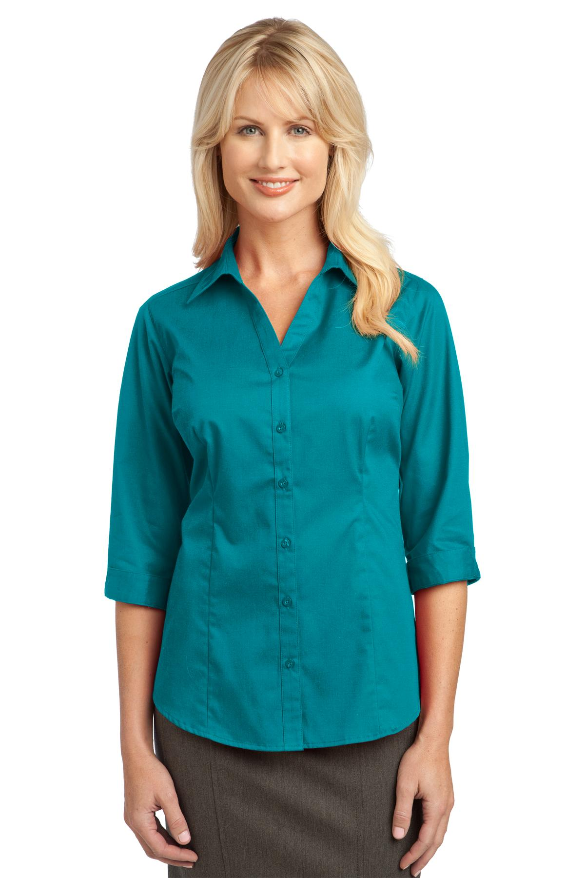 IMPROVED  Port Authority ®  Ladies 3/4-Sleeve Blouse. L6290 - Teal Green