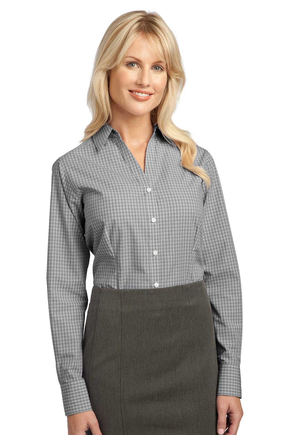 Port Authority ®  Ladies Plaid Pattern Easy Care Shirt. L639 - Charcoal