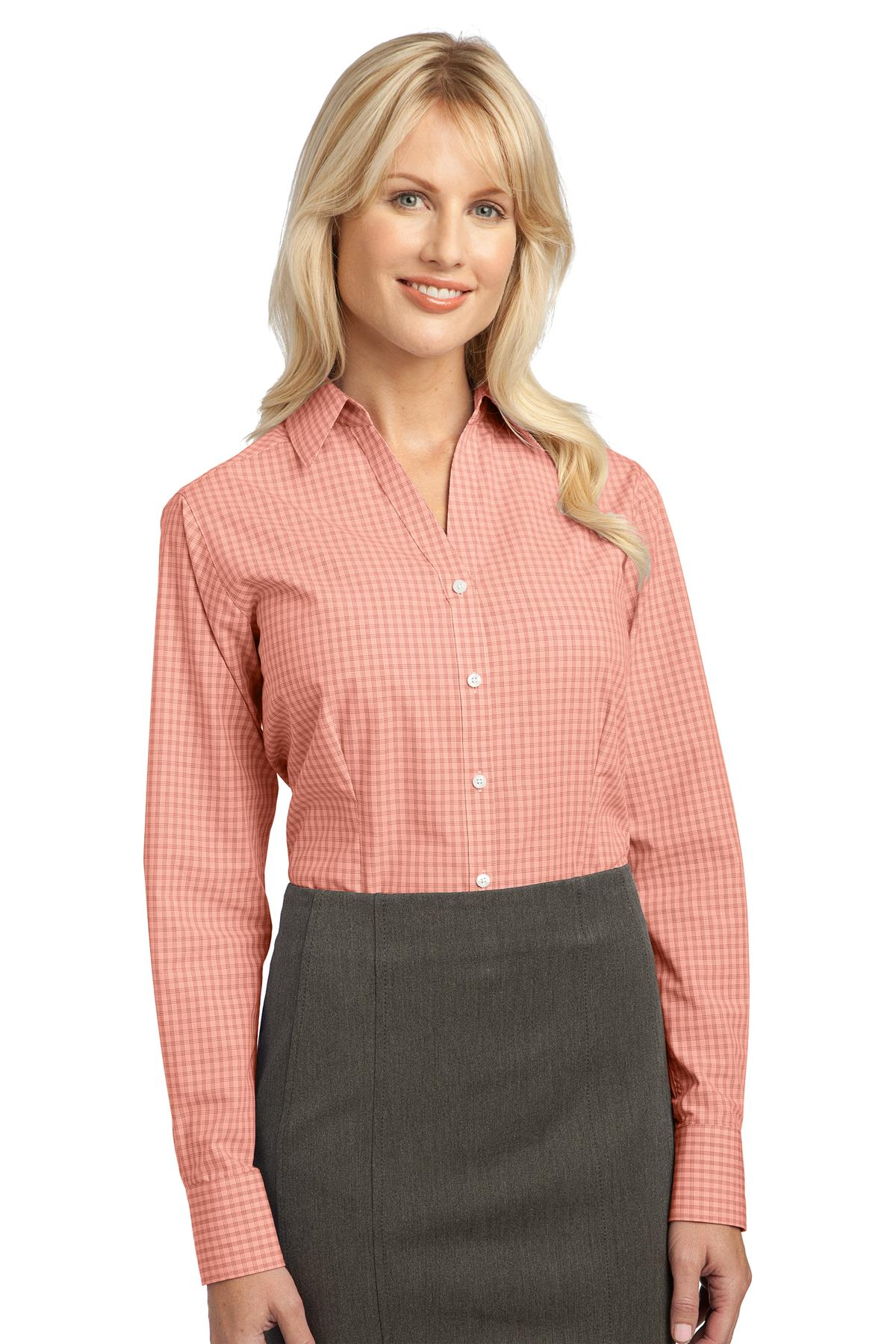 Port Authority ®  Ladies Plaid Pattern Easy Care Shirt. L639 - Orange
