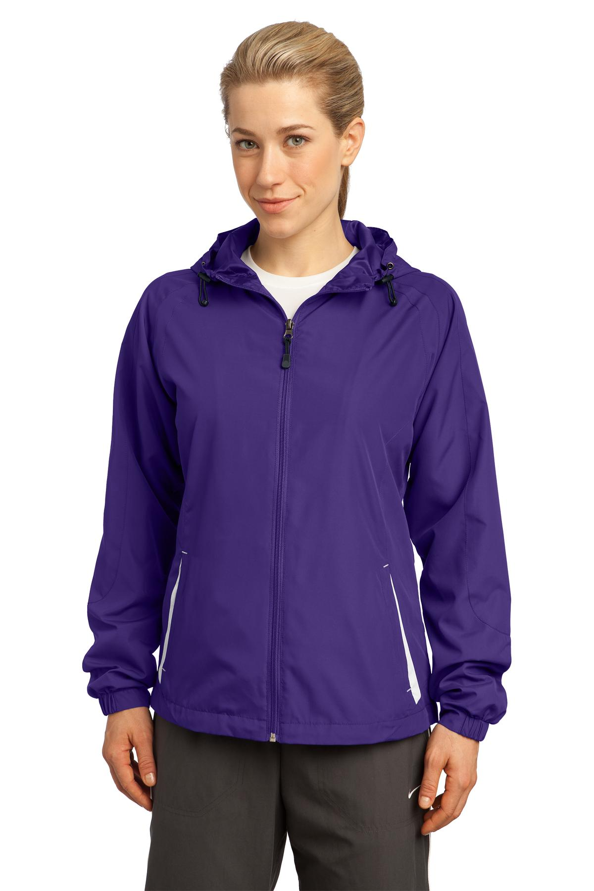 Sport-Tek ®  Ladies Colorblock Hooded Raglan Jacket. LST76 - Purple/White