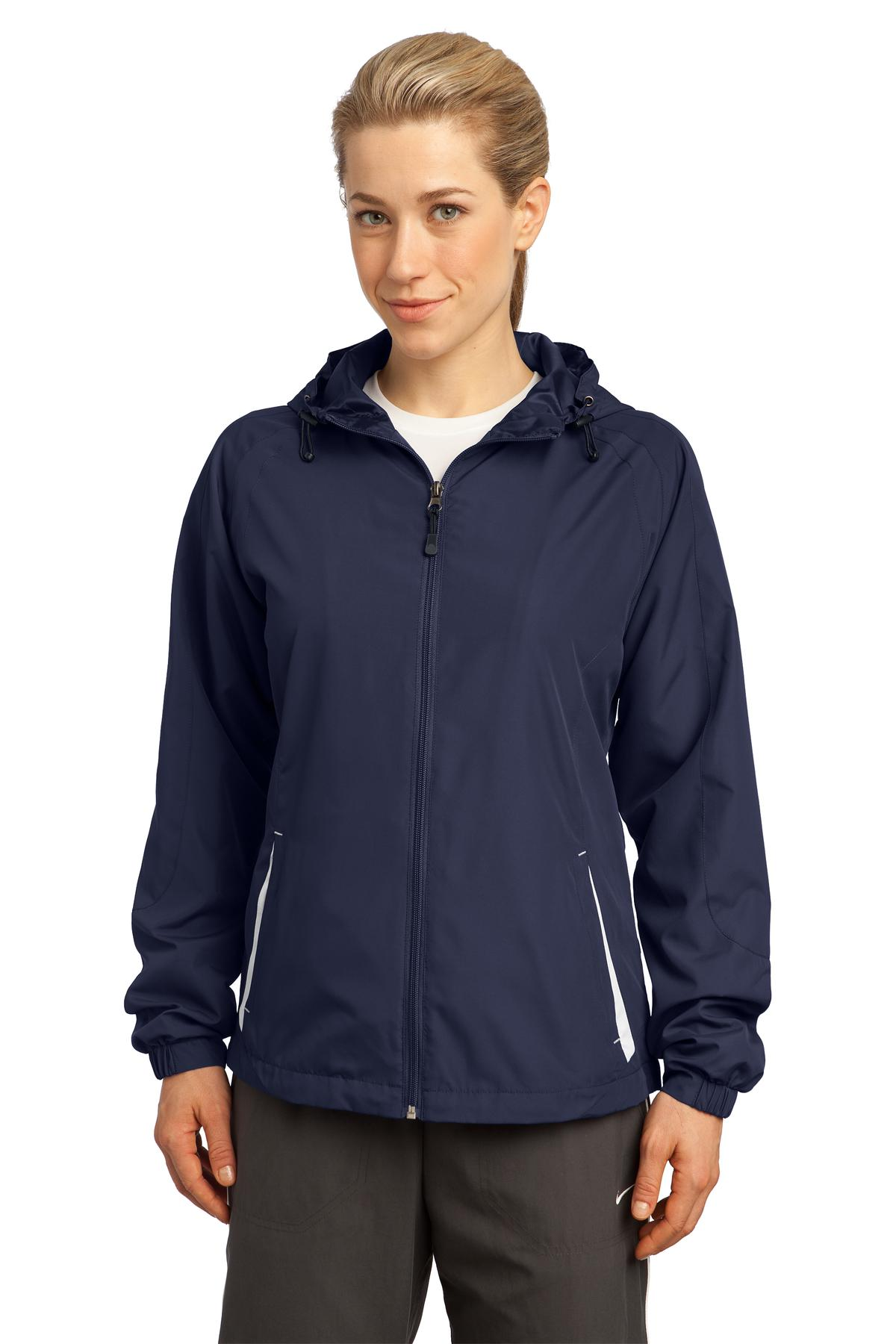Sport-Tek ®  Ladies Colorblock Hooded Raglan Jacket. LST76 - True Navy/White