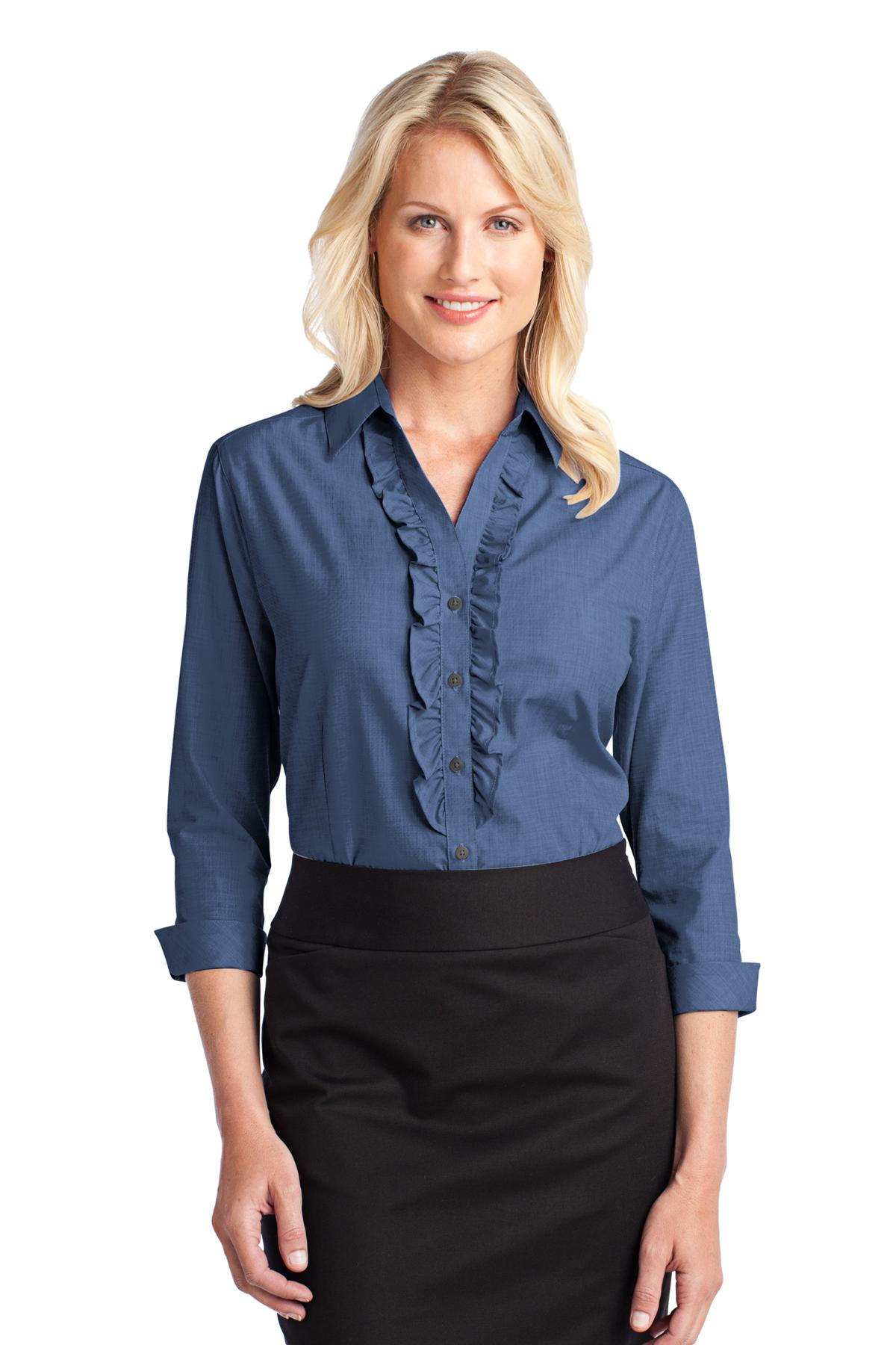 CLOSEOUT Port Authority Ladies Crosshatch Ruffle Easy Care Shirt. L644