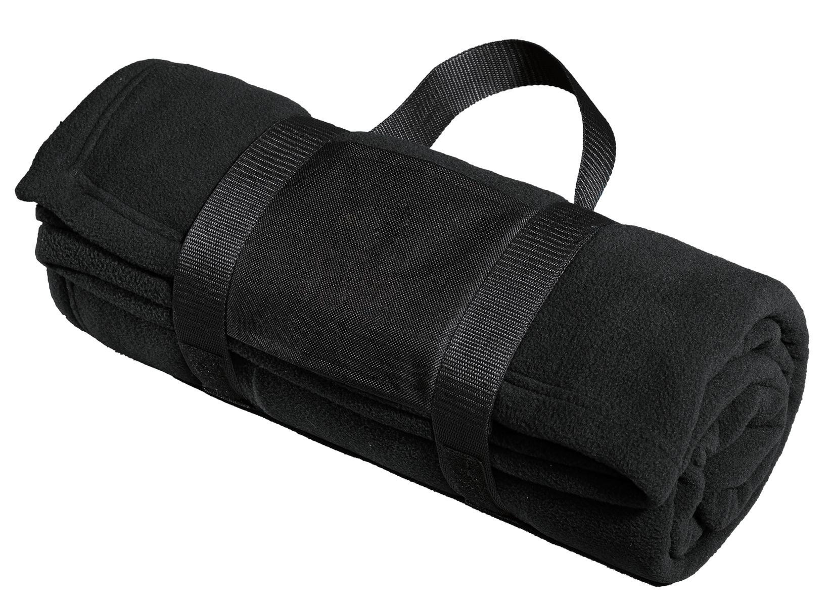 Port Authority ®  Fleece Blanket with Carrying Strap. BP20 - Black