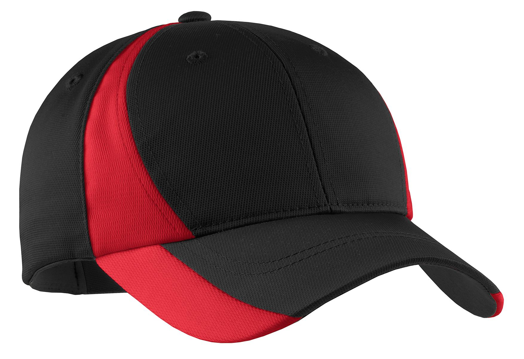 Sport-Tek ®  Dry Zone ®  Nylon Colorblock Cap. STC11 - Black/ True Red