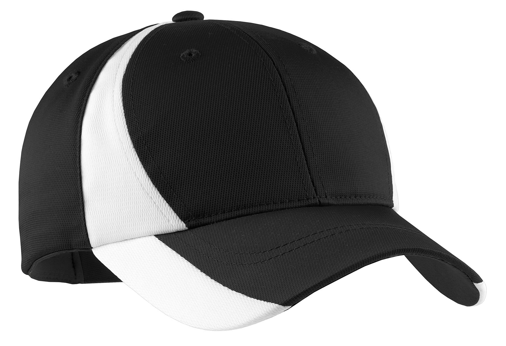 Sport-Tek ®  Dry Zone ®  Nylon Colorblock Cap. STC11 - Black/ White