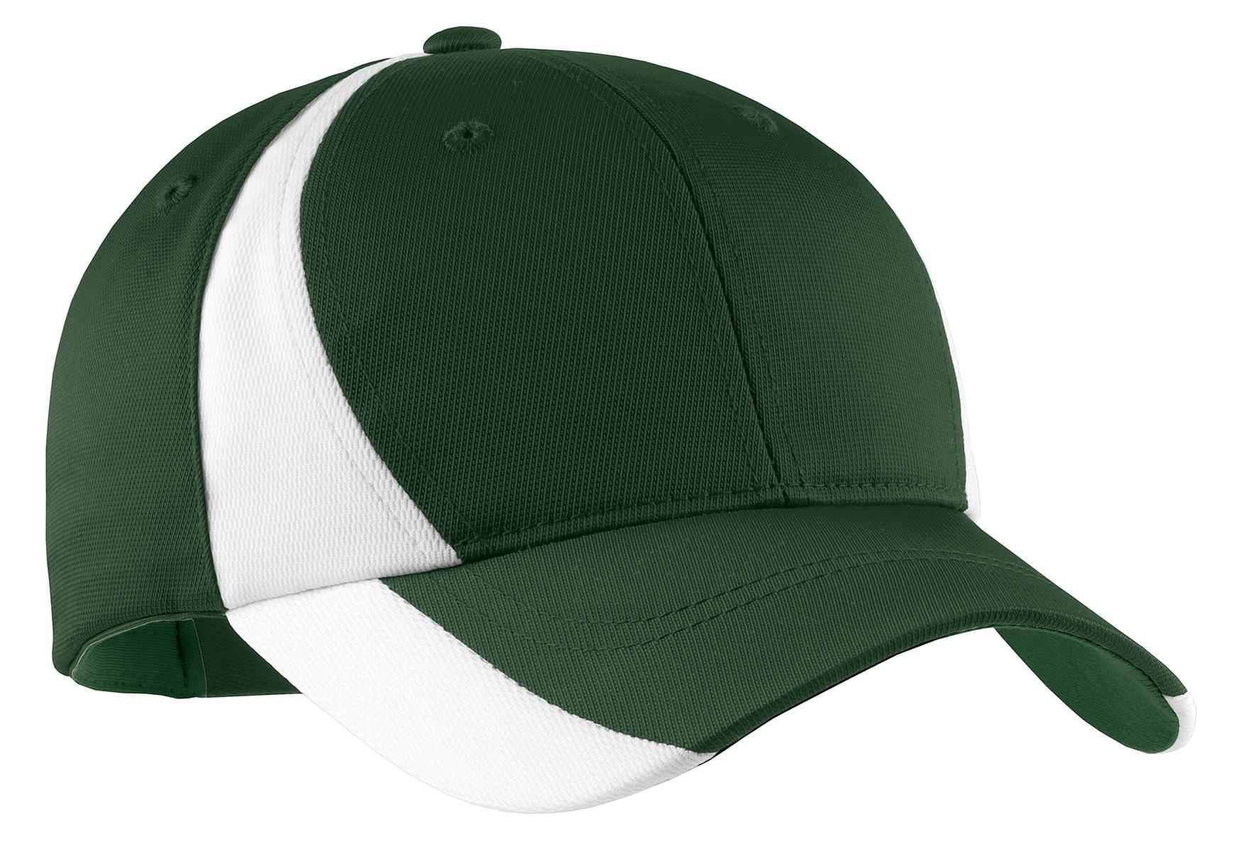 Sport-Tek ®  Dry Zone ®  Nylon Colorblock Cap. STC11 - Forest Green/ White