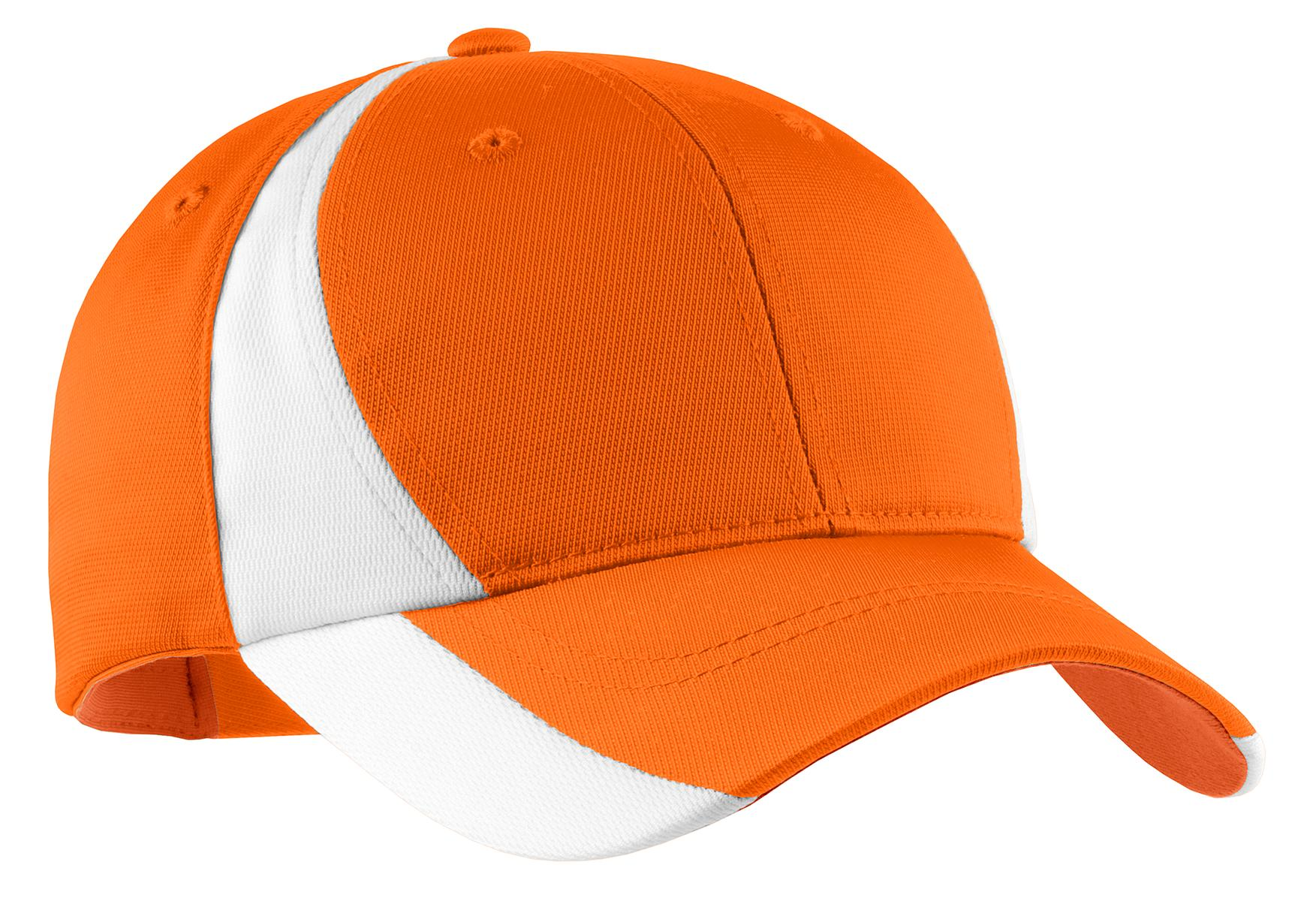 Sport-Tek ®  Dry Zone ®  Nylon Colorblock Cap. STC11 - Orange/ White