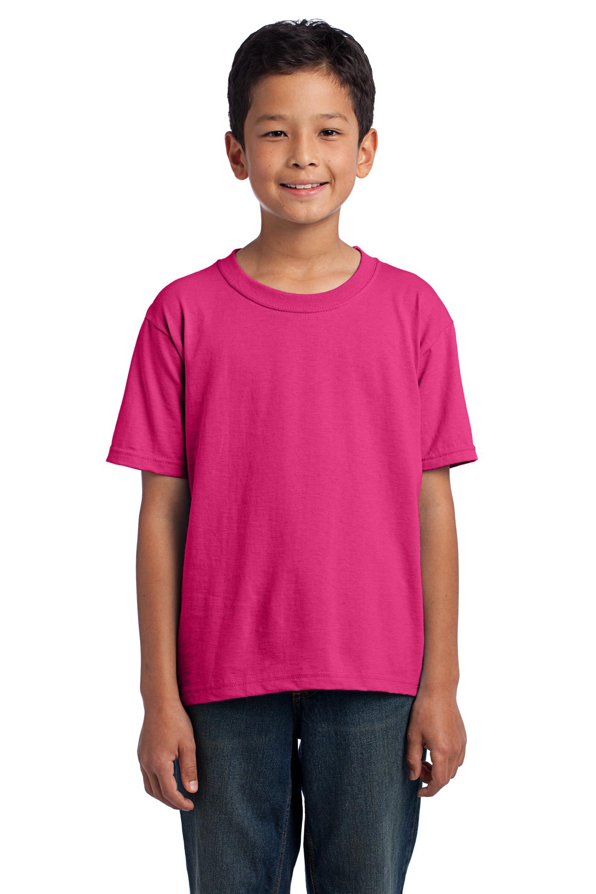 Fruit of the Loom ®  Youth HD Cotton ™  100% Cotton T-Shirt. 3930B - Cyber Pink