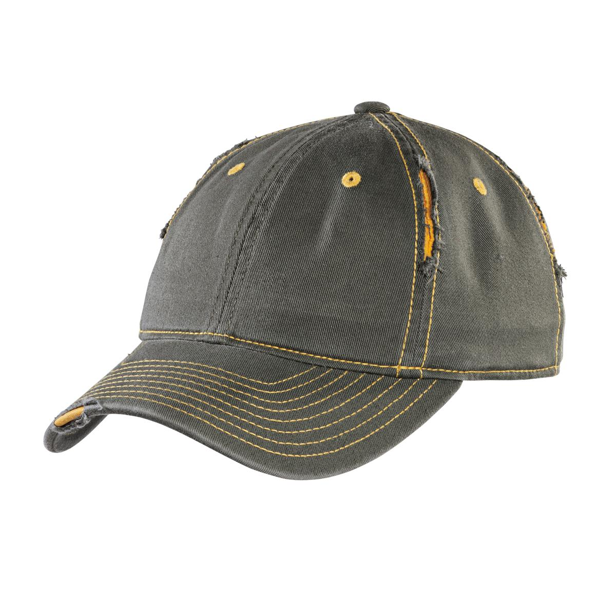 District ®  Rip and Distressed Cap DT612 - Army/ Gold
