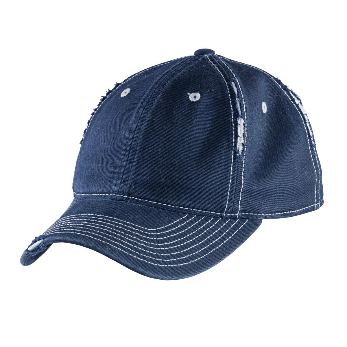 District ®  Rip and Distressed Cap DT612 - New Navy/Light Blue