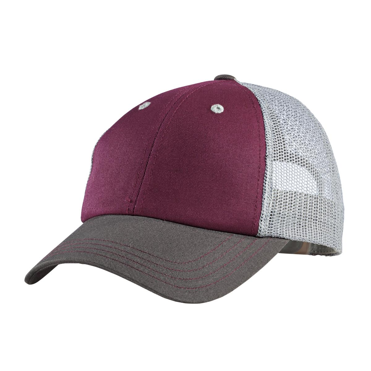 District ®  Tri-Tone Mesh Back Cap DT616 - Maroon/Charcoal/Grey