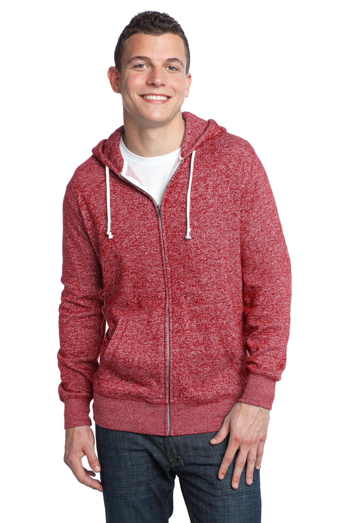 DISCONTINUED District - Young Mens Marled Fleece Full-Zip Hoodie DT192