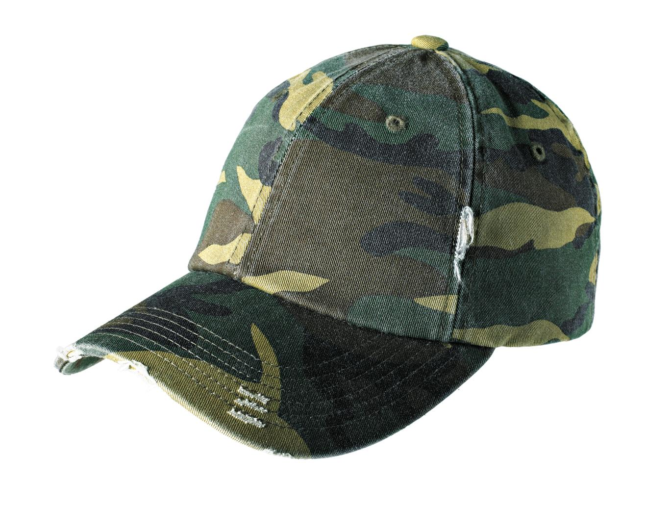 District ®  Distressed Cap. DT600 - Military Camo
