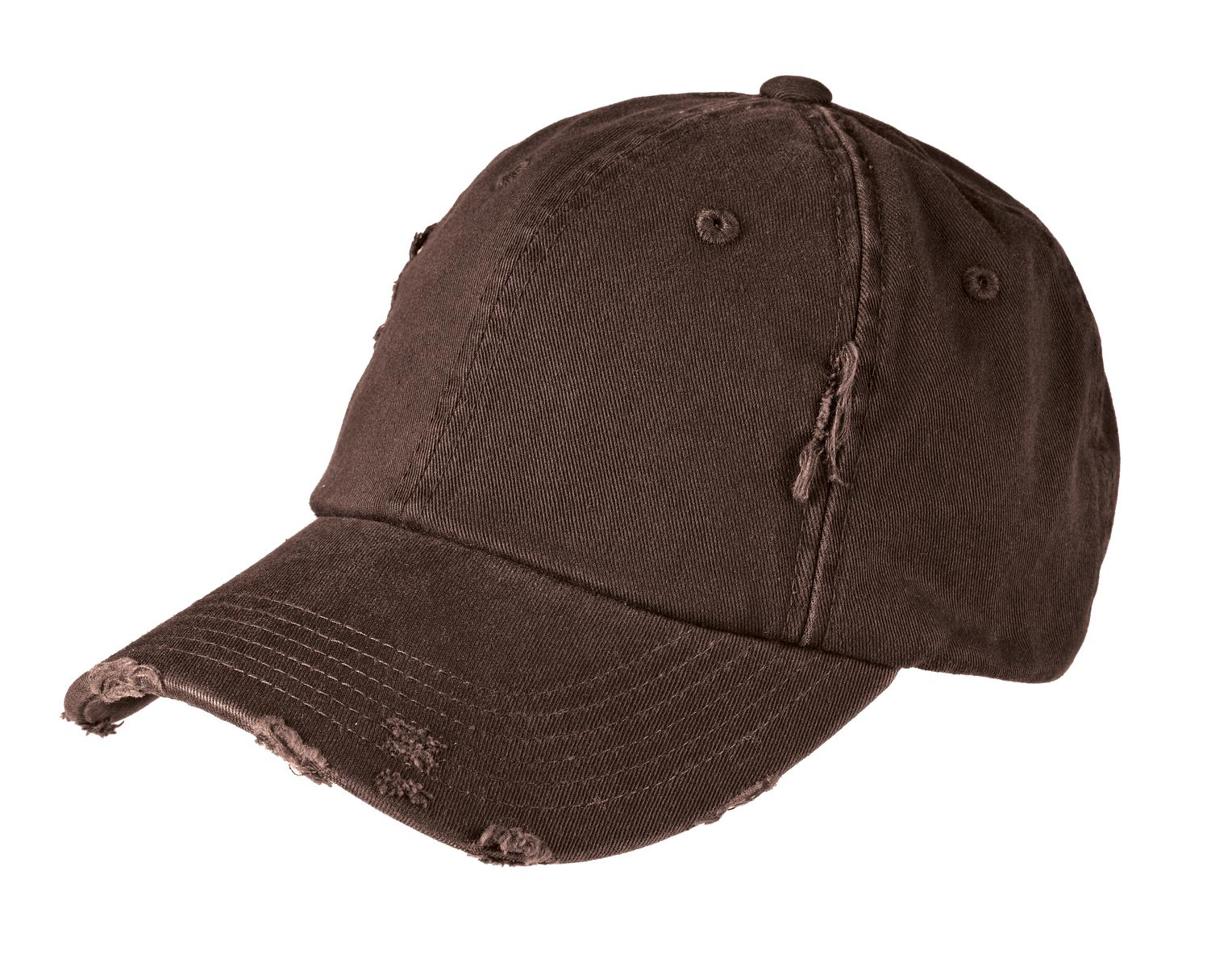 District ®  Distressed Cap. DT600 - Chocolate Brown