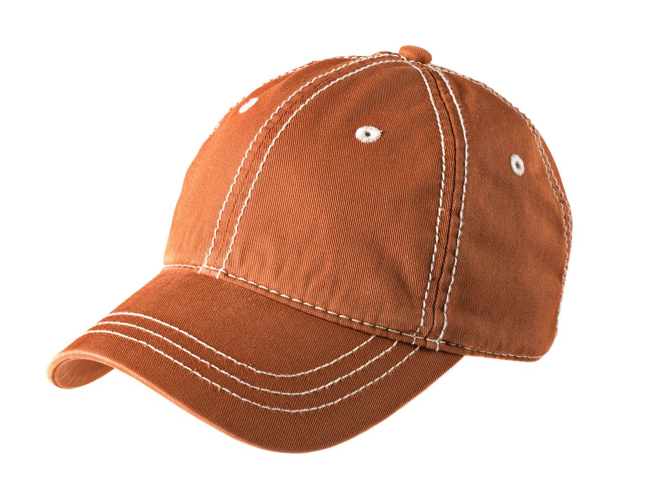 District ®   Thick Stitch Cap. DT610 - Burnt Orange/Stone