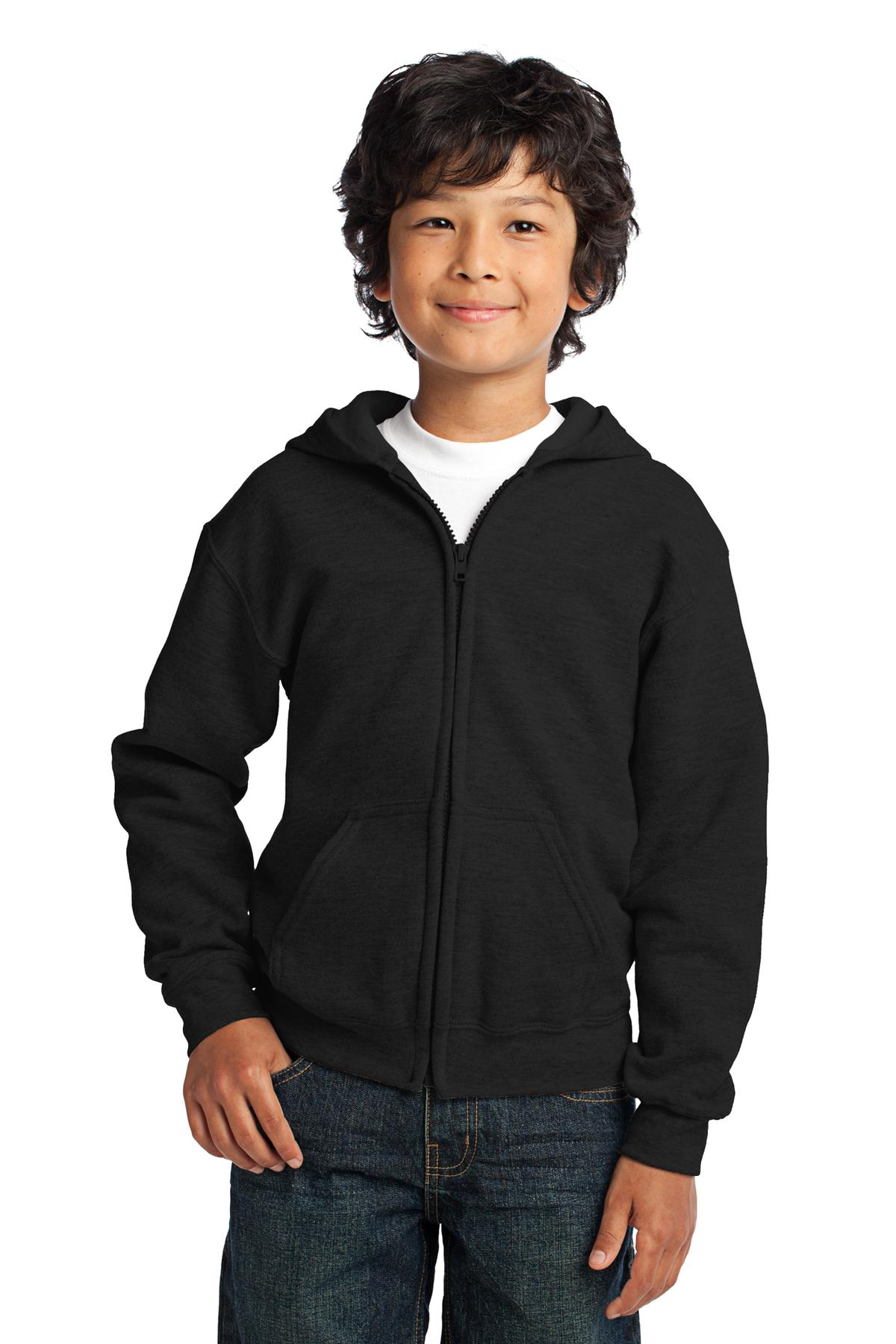 Gildan ®  Youth Heavy Blend ™  Full-Zip Hooded Sweatshirt. 18600B - Black