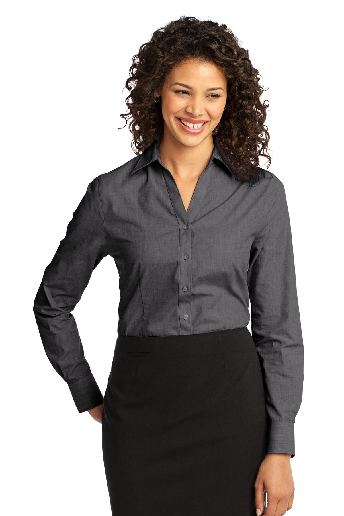 Port Authority ®  Ladies Crosshatch Easy Care Shirt. L640 - Soft Black
