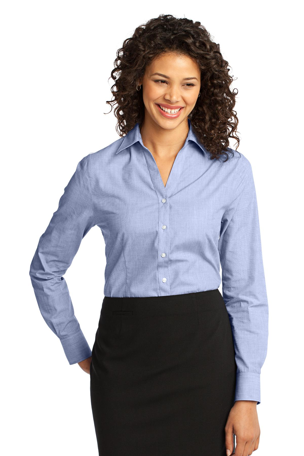Port Authority ®  Ladies Crosshatch Easy Care Shirt. L640 - Chambray Blue