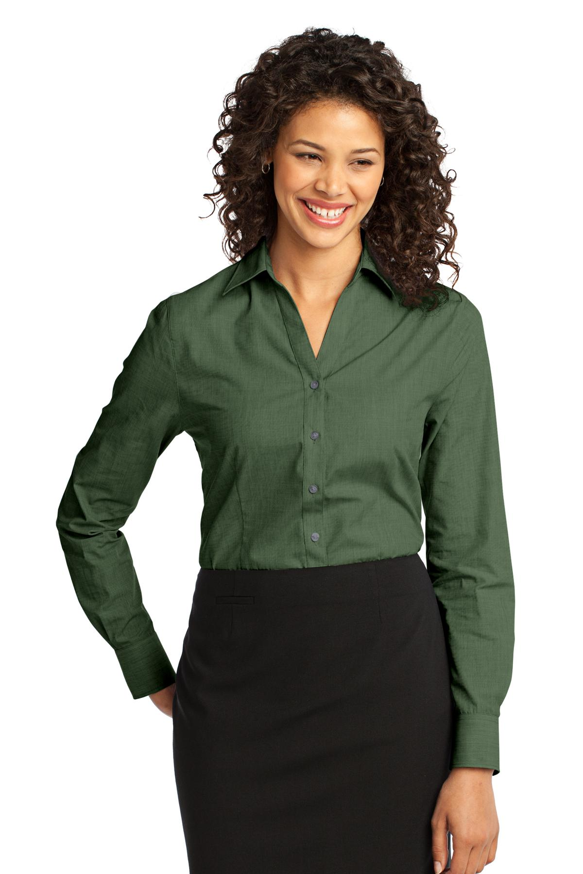 Port Authority ®  Ladies Crosshatch Easy Care Shirt. L640 - Dark Cactus Green