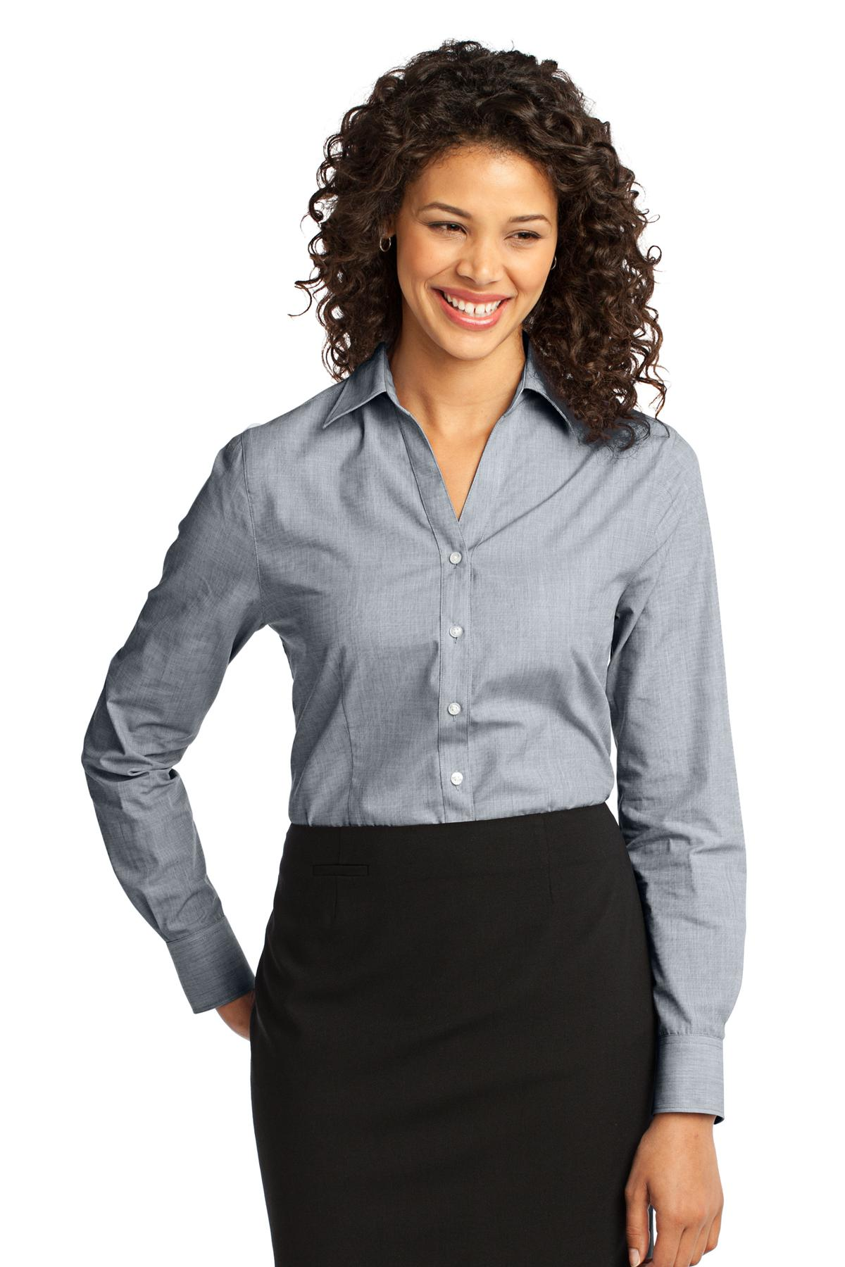 Port Authority ®  Ladies Crosshatch Easy Care Shirt. L640 - Navy Frost