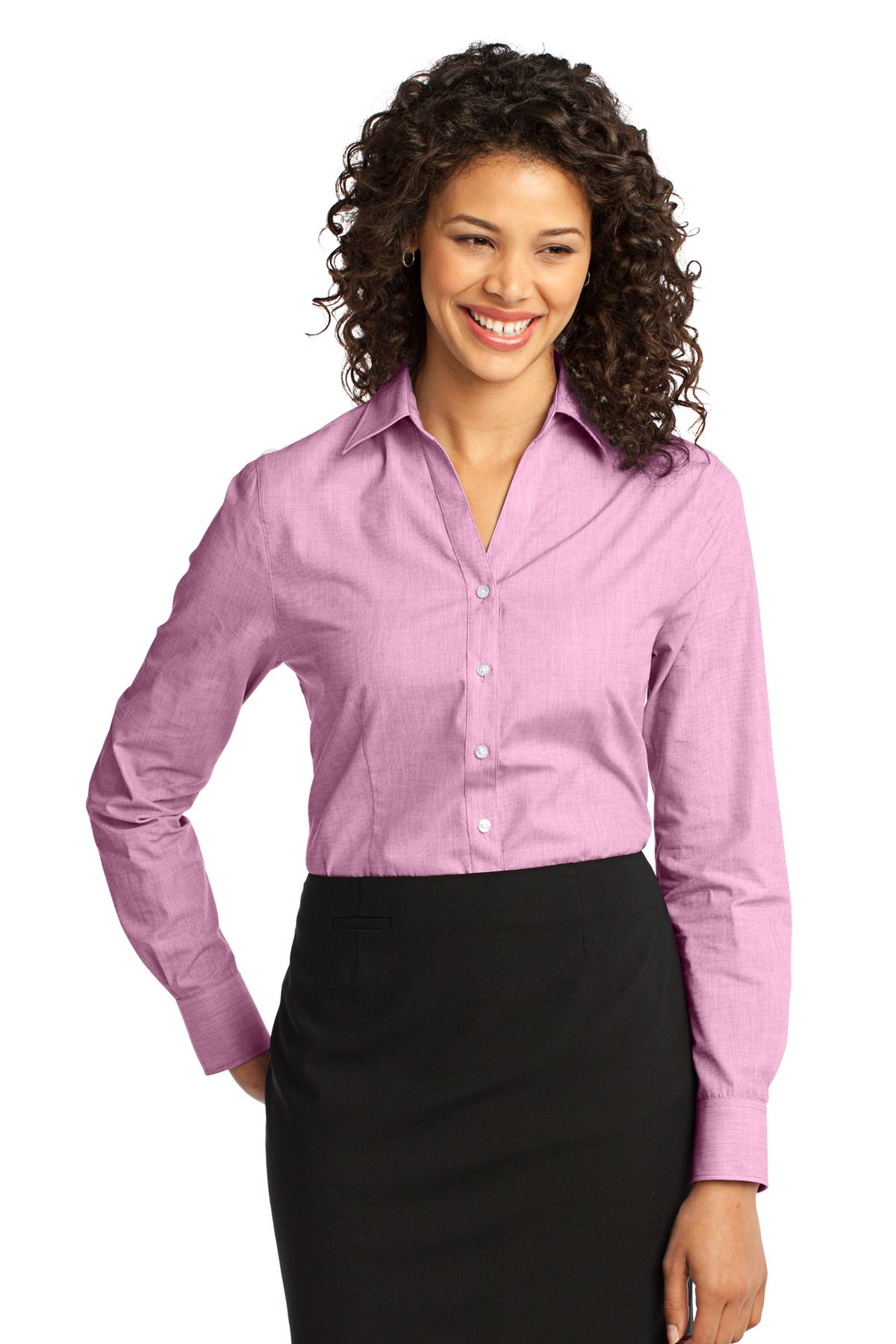 Port Authority ®  Ladies Crosshatch Easy Care Shirt. L640 - Pink Orchid