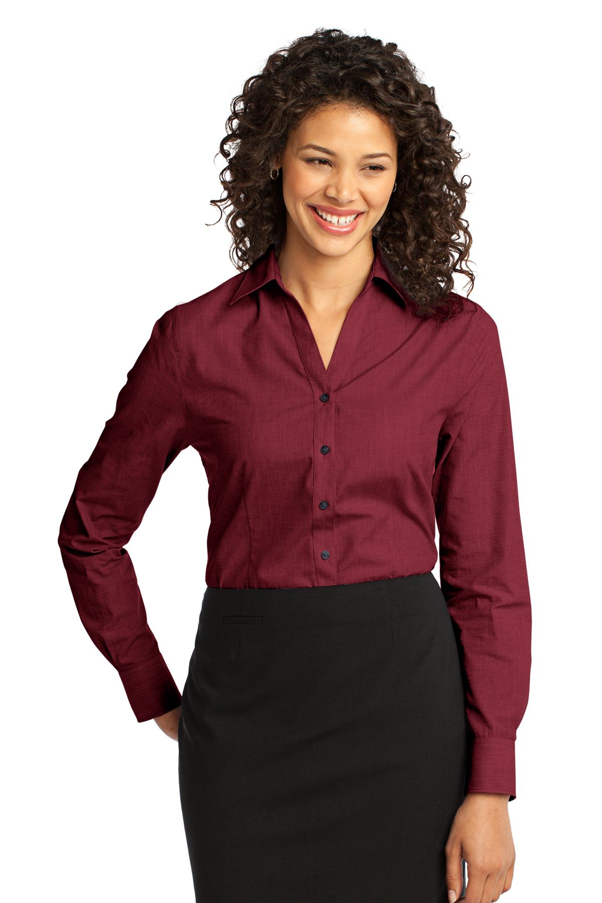 Port Authority ®  Ladies Crosshatch Easy Care Shirt. L640 - Red Oxide