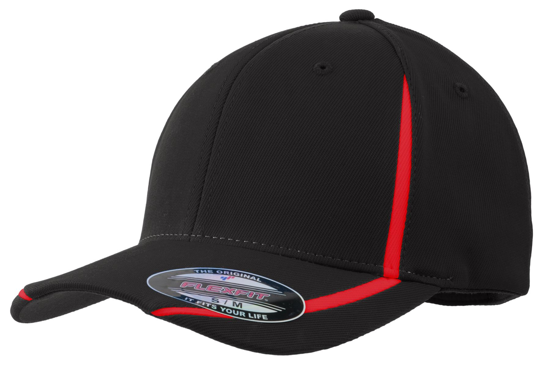 Sport-Tek ®  Flexfit ®  Performance Colorblock Cap. STC16 - Black/True Red