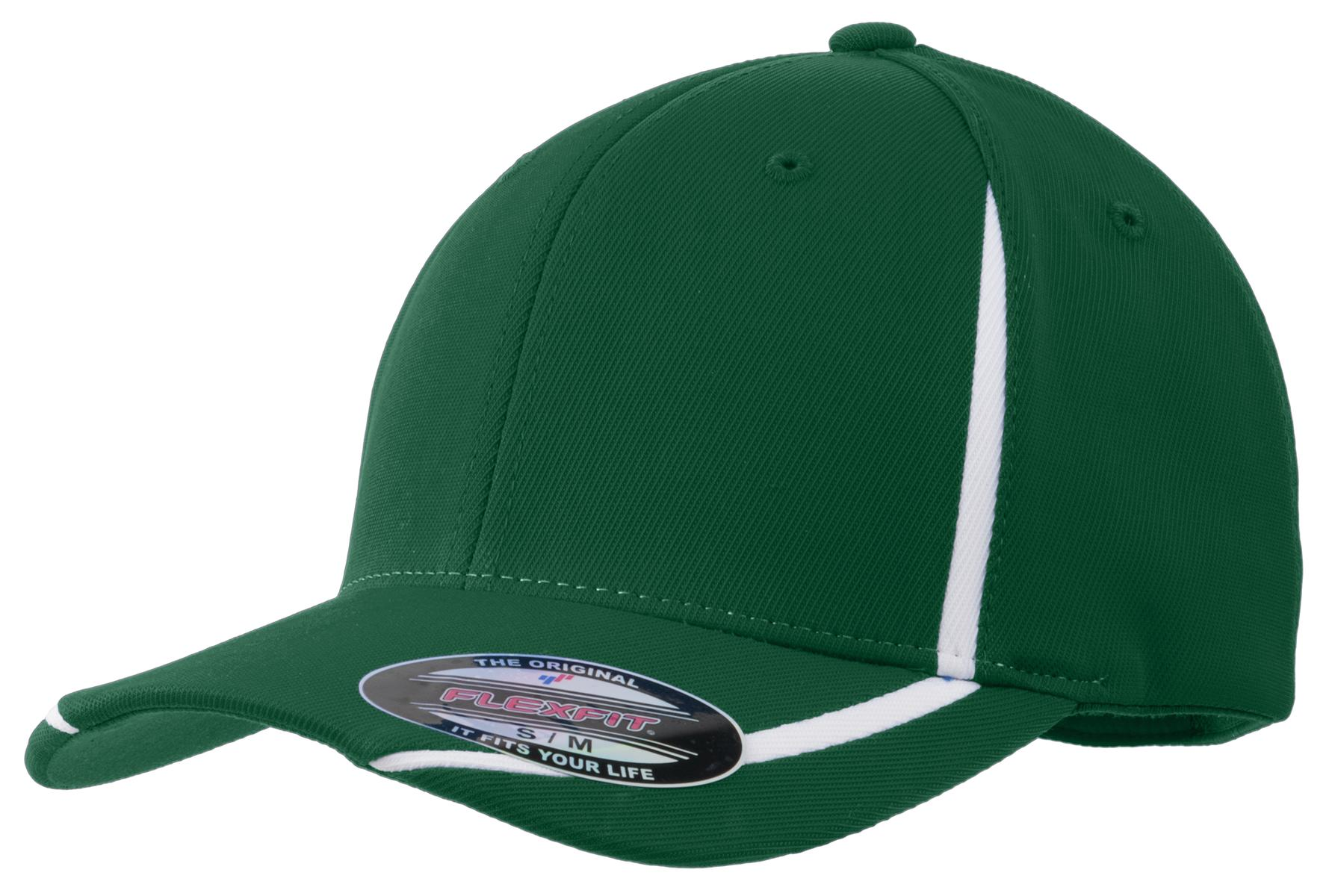 Sport-Tek ®  Flexfit ®  Performance Colorblock Cap. STC16 - Forest Green/White