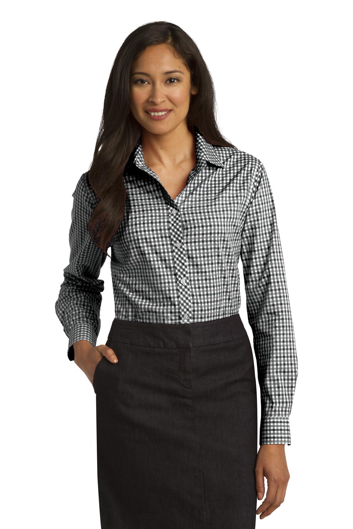 Port Authority ®  Ladies Long Sleeve Gingham Easy Care Shirt. L654 - Black/ Charcoal