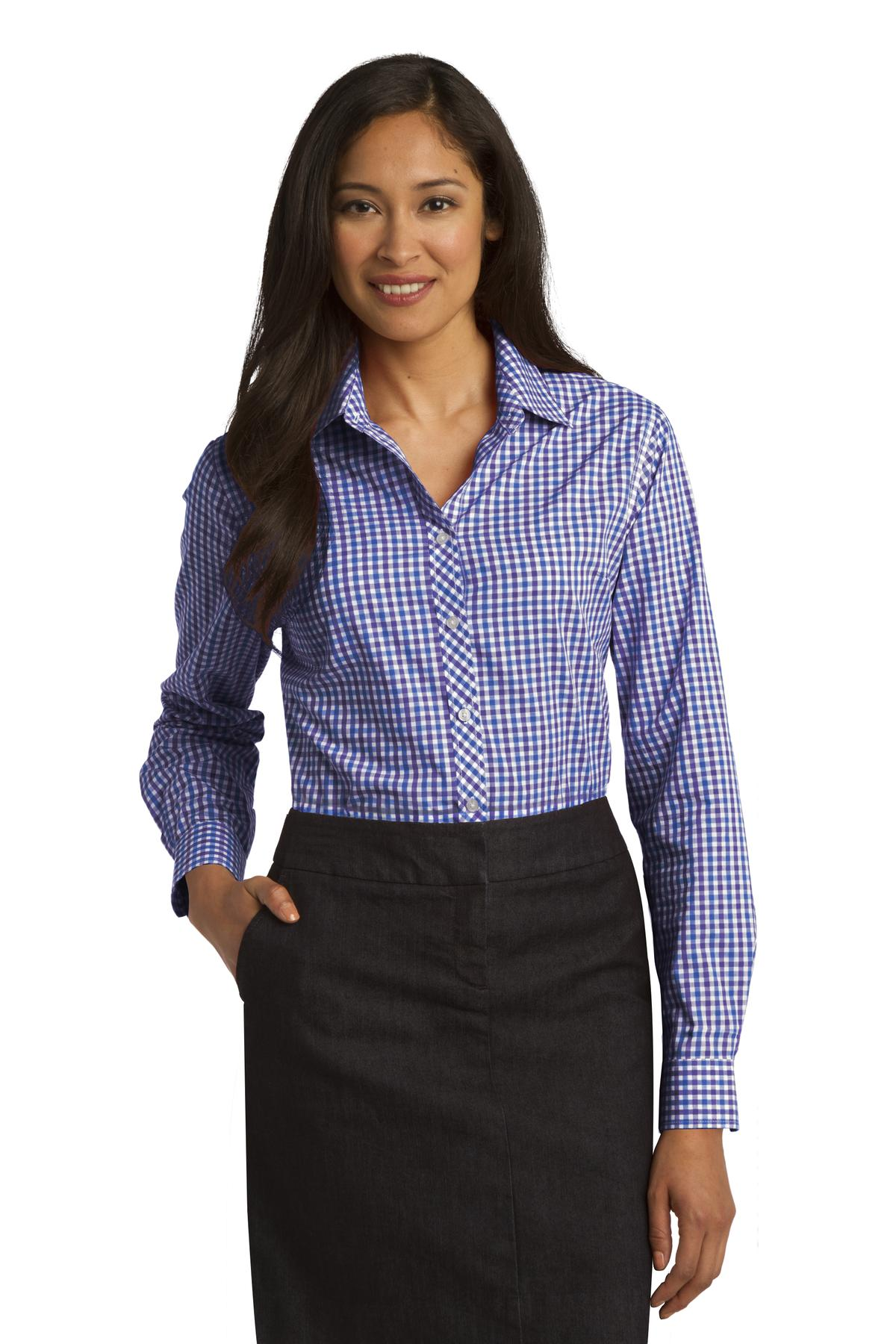 Port Authority ®  Ladies Long Sleeve Gingham Easy Care Shirt. L654 - Blue/ Purple