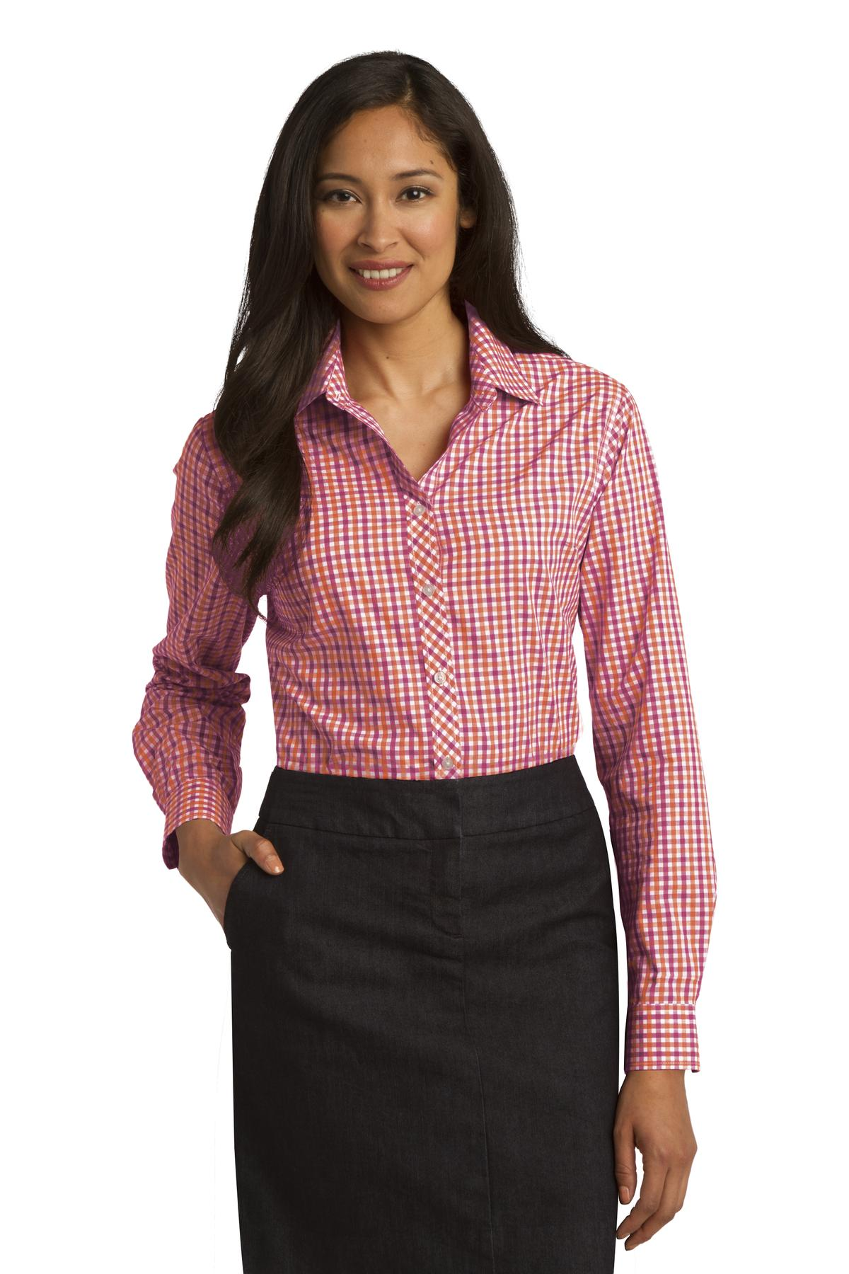 Port Authority ®  Ladies Long Sleeve Gingham Easy Care Shirt. L654 - Tangerine/ Pink