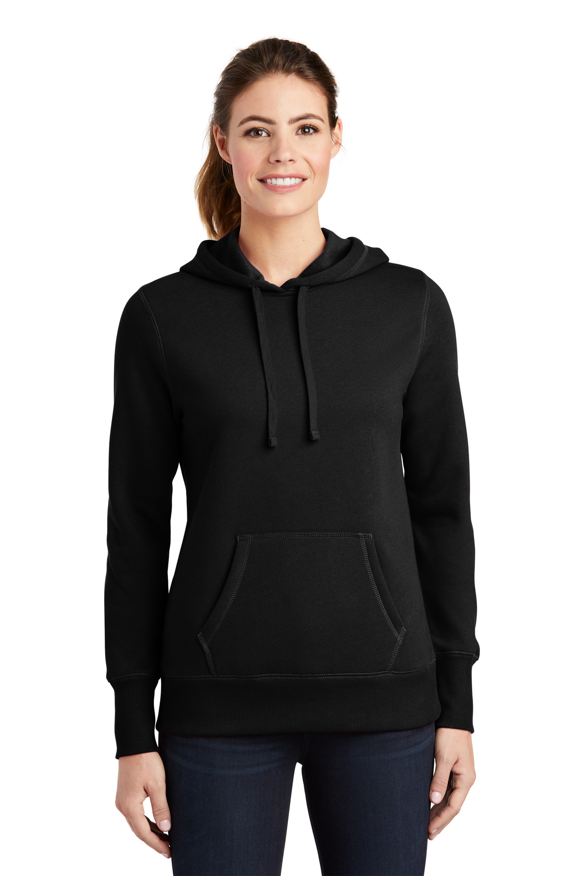 Sport-Tek ®  Ladies Pullover Hooded Sweatshirt. LST254 - Black