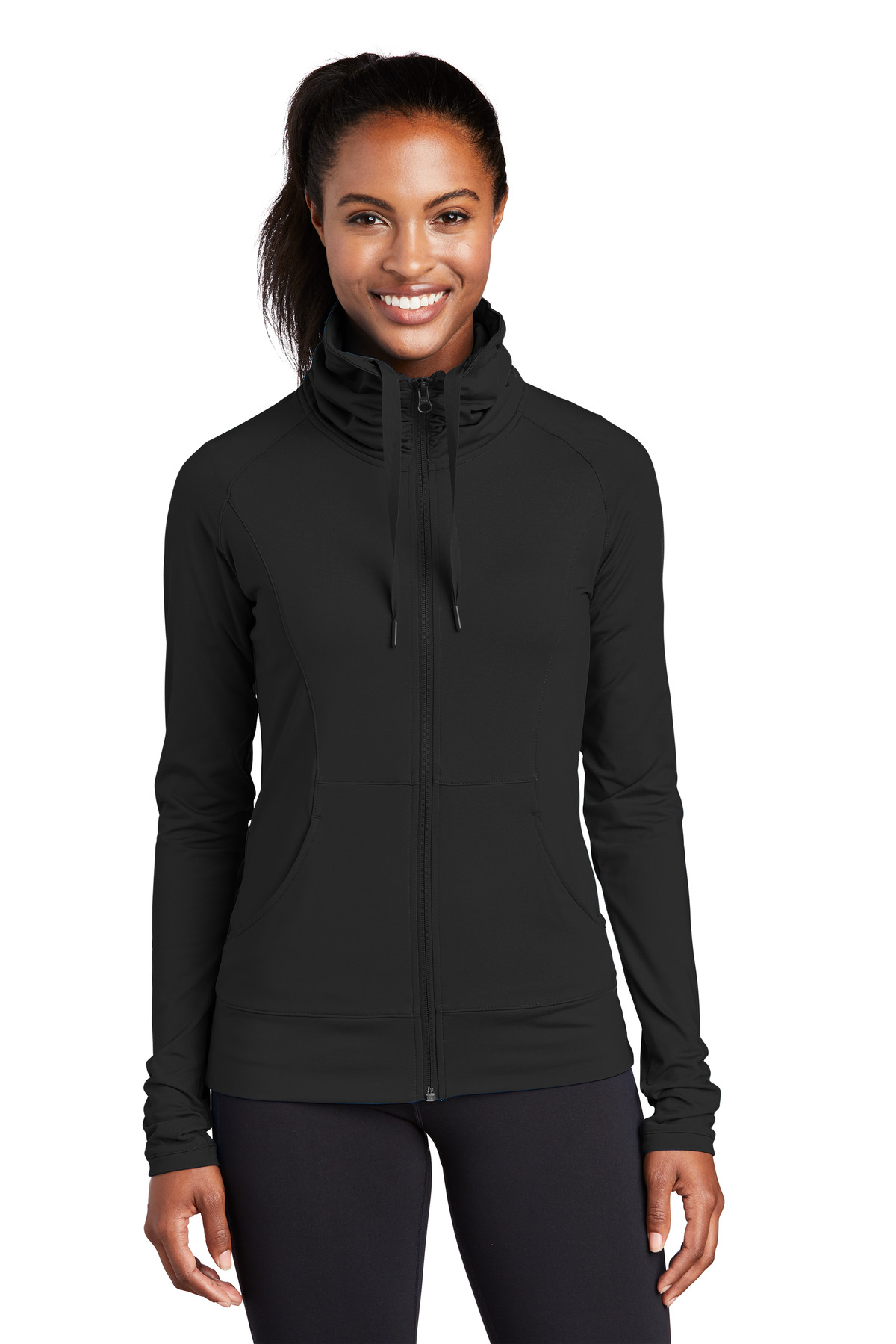 Sport-Tek ®  Ladies Sport-Wick ®  Stretch Full-Zip Jacket. LST852 - Black