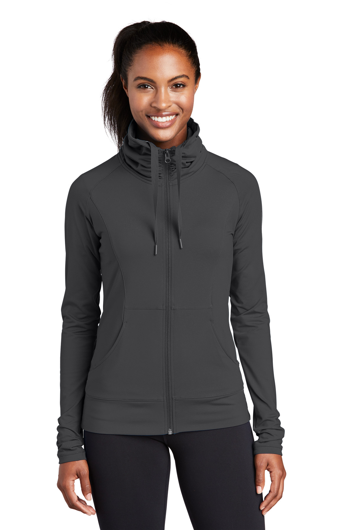 Sport-Tek ®  Ladies Sport-Wick ®  Stretch Full-Zip Jacket. LST852 - Charcoal Grey