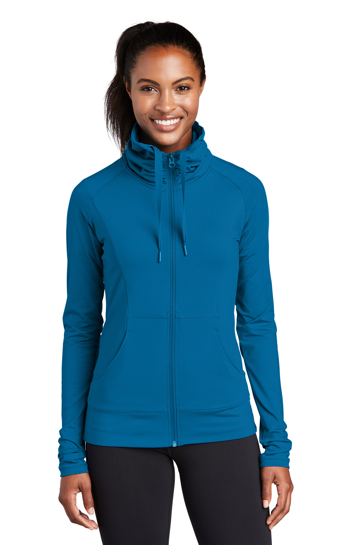 Sport-Tek ®  Ladies Sport-Wick ®  Stretch Full-Zip Jacket. LST852 - Peacock Blue