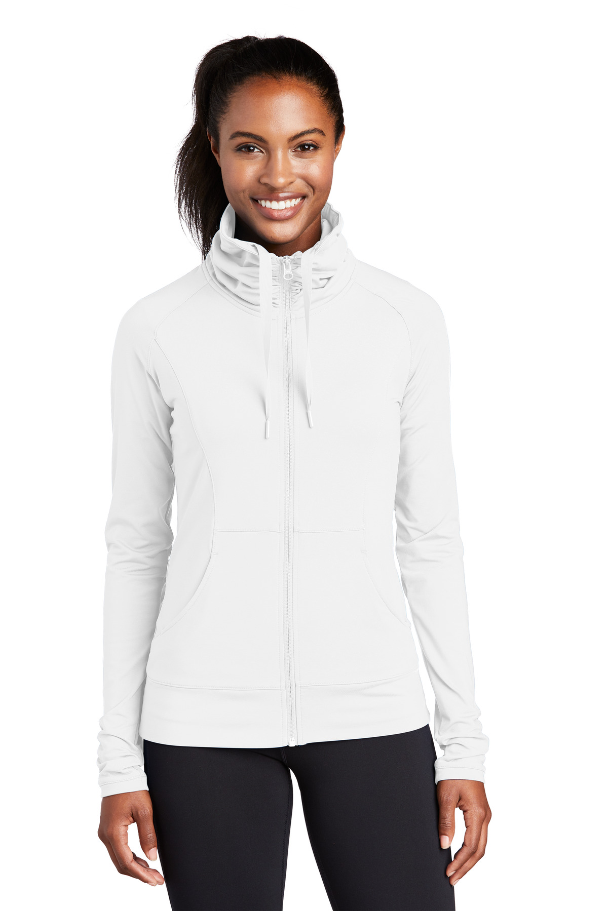 Sport-Tek ®  Ladies Sport-Wick ®  Stretch Full-Zip Jacket. LST852 - White