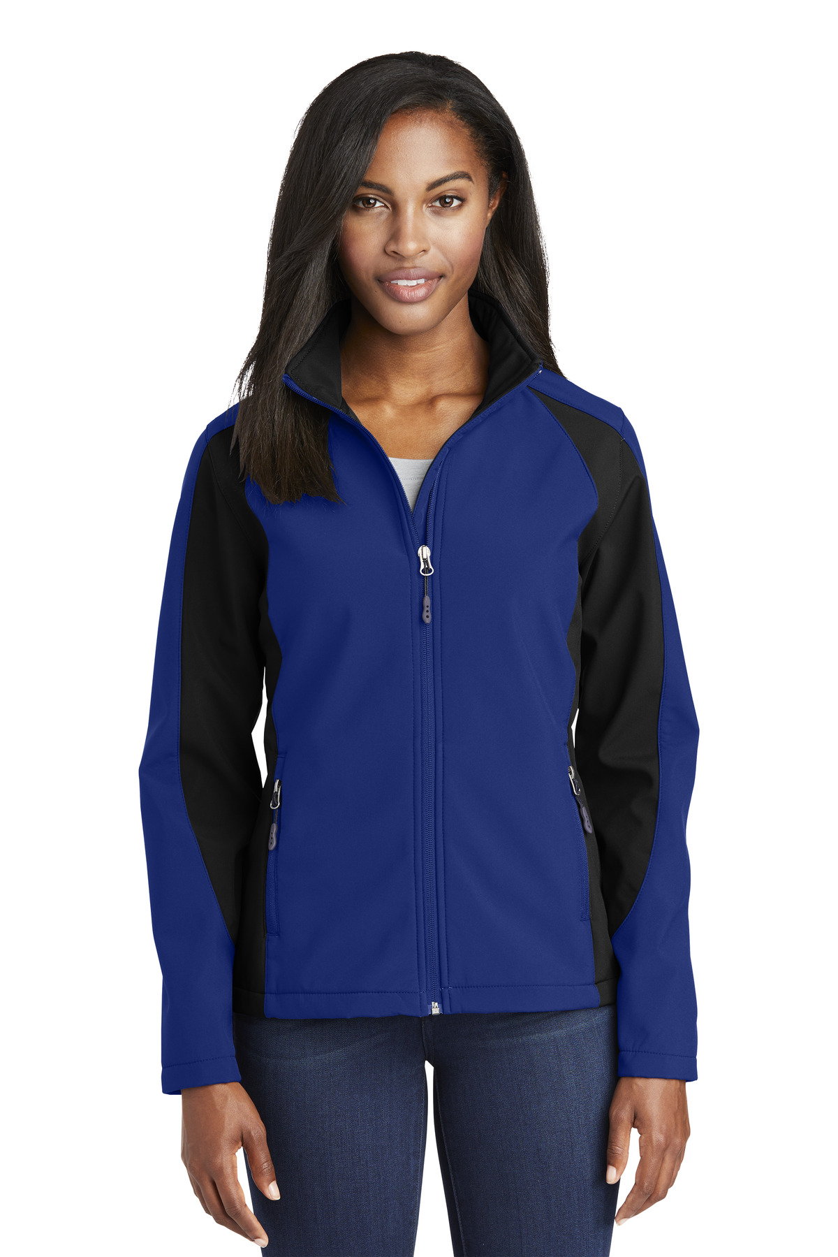 Sport-Tek ®  Ladies Colorblock Soft Shell Jacket. LST970 - True Royal/ Black