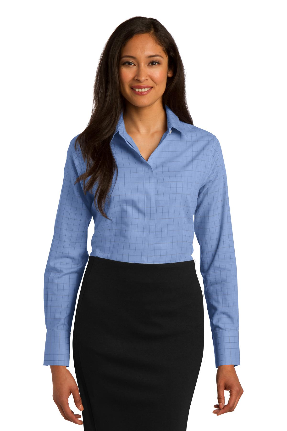 Red House ®  Ladies Windowpane Plaid Non-Iron Shirt. RH71 - Blue