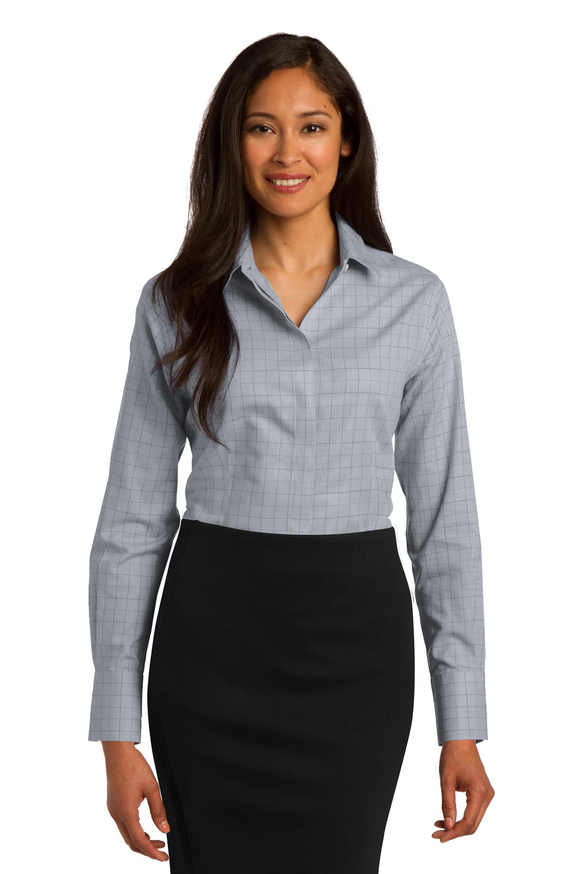Red House ®  Ladies Windowpane Plaid Non-Iron Shirt. RH71 - Dove Grey