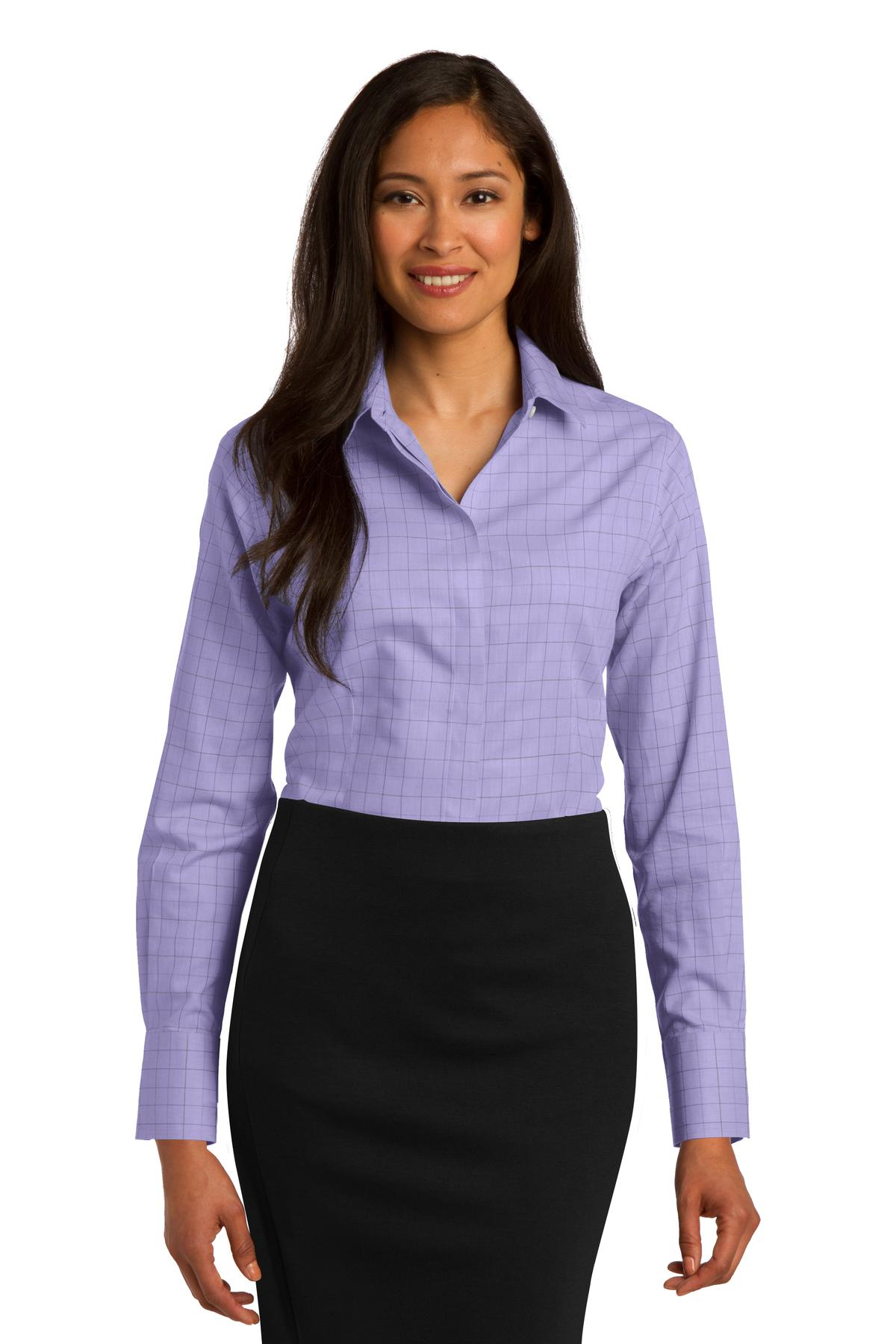 Red House ®  Ladies Windowpane Plaid Non-Iron Shirt. RH71 - Thistle Purple