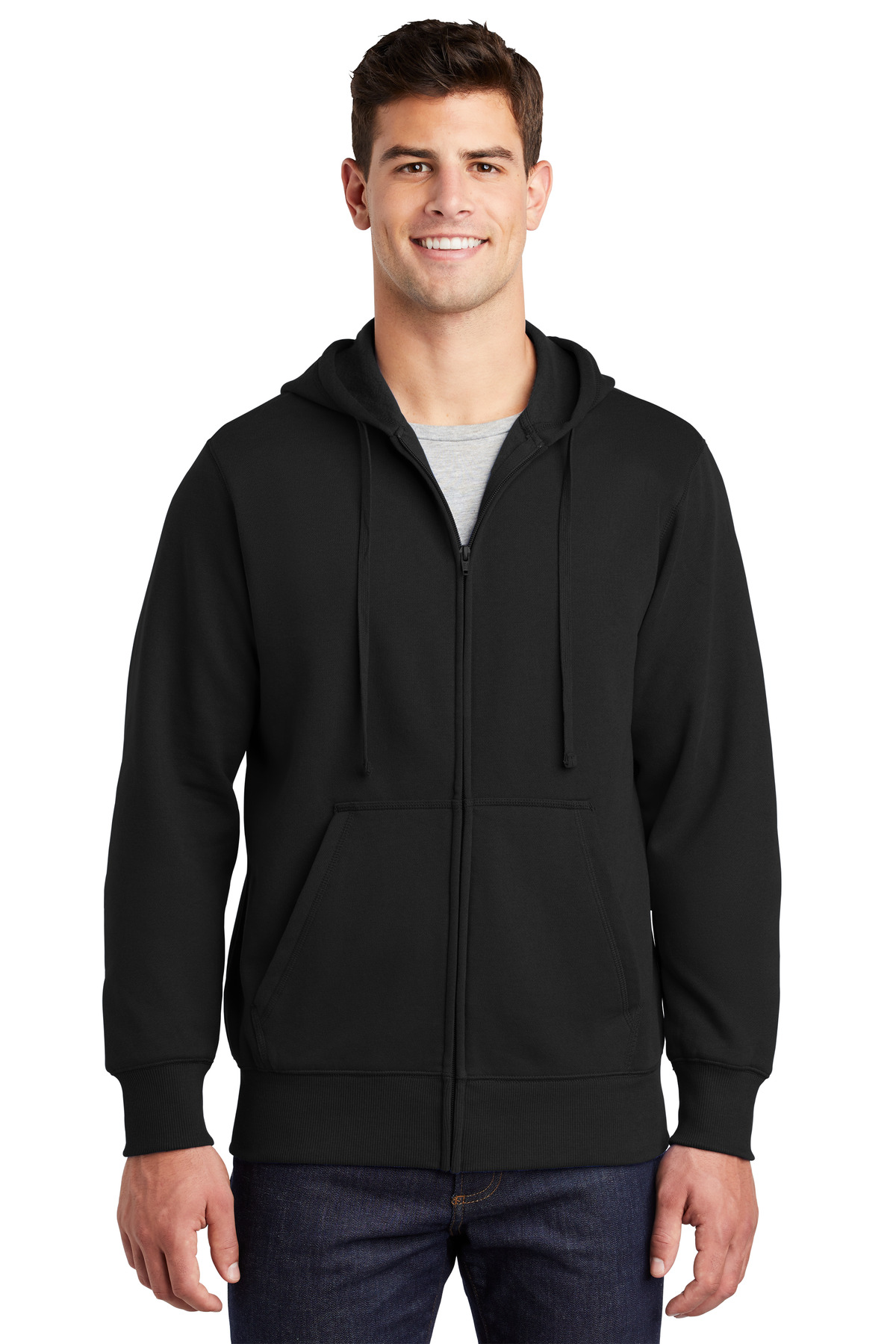 Sport-Tek ®  Full-Zip Hooded Sweatshirt. ST258 - Black