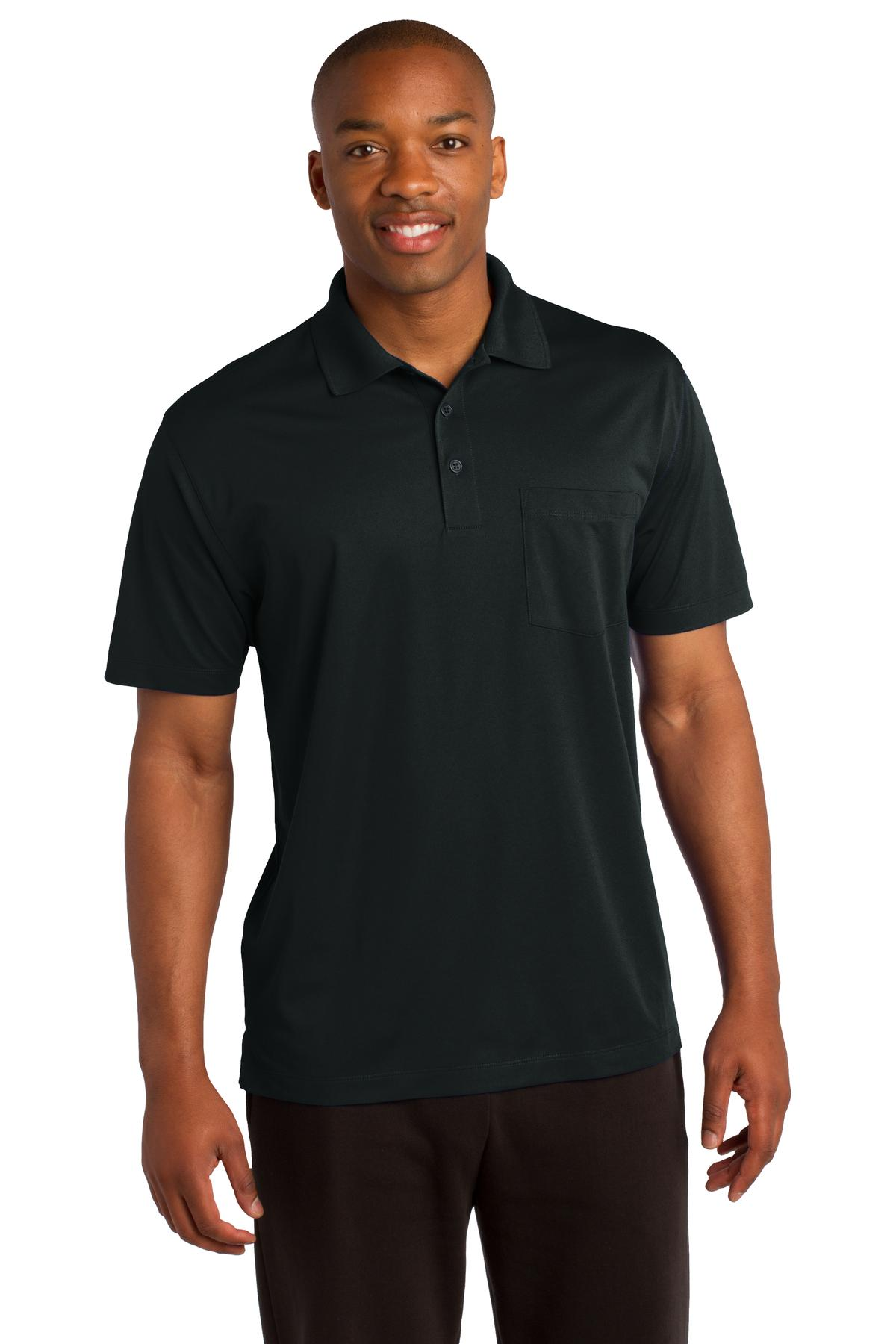 Sport-Tek ®  Micropique Sport-Wick ®  Pocket Polo. ST651 - Black