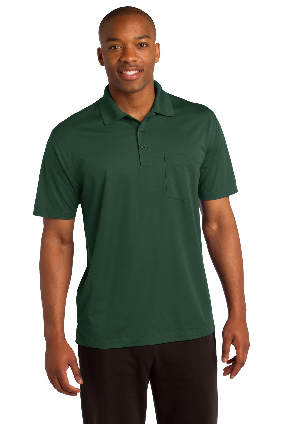 Sport-Tek ®  Micropique Sport-Wick ®  Pocket Polo. ST651 - Forest Green