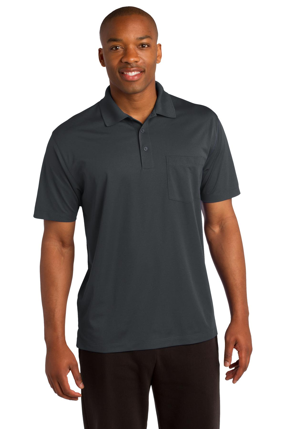 Sport-Tek ®  Micropique Sport-Wick ®  Pocket Polo. ST651 - Iron Grey