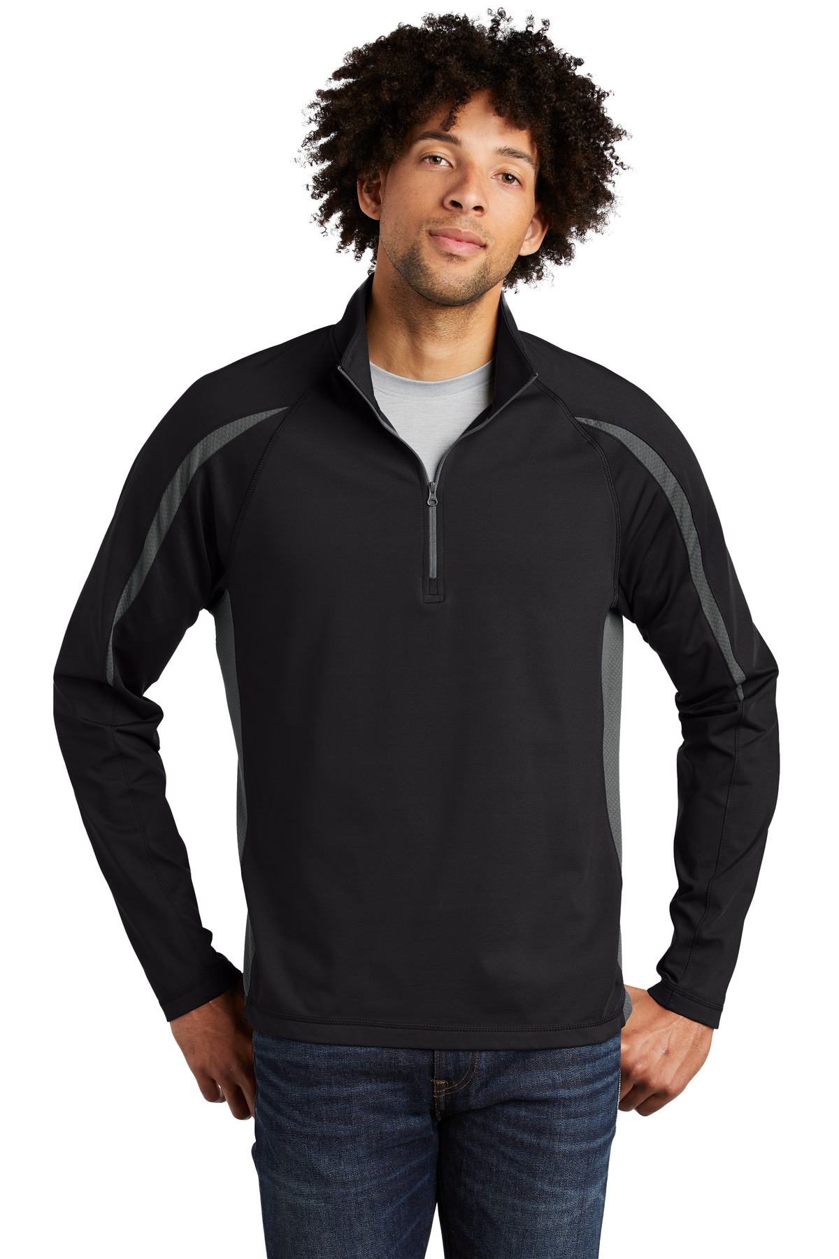 Sport-Tek ®  Sport-Wick ®  Stretch 1/2-Zip Colorblock Pullover. ST851 - Black/ Charcoal Grey